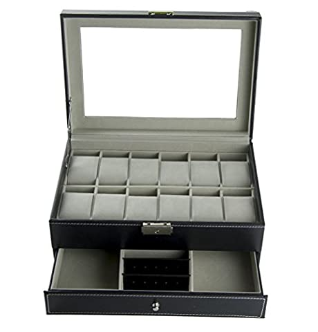 Feibrand PU Présentoir/Coffret/Boîte à Montre 12 Montres pour Bracelets et Boutons de Manchette Noir