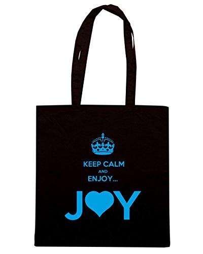 T-Shirtshock - Borsa Shopping ENJOY0120 KEEP CALM and ENJOY... JOY 2 THE HEART 3 Nero