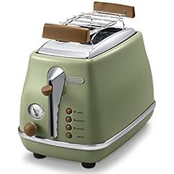 DeLonghi Tostadora Icona Vintage 900 W, 2 rebanadas, acero Inoxidable, verde