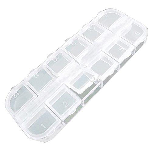 SODIAL(R) 10 Pcs Boite vide divisee en 12 en plastique pour le stockage du Set de l'art des ongles et du strass de decoration Nouveau