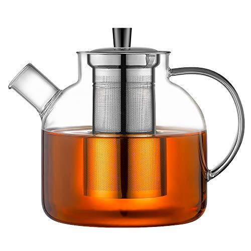 Ehugos Théière en Verre, Bouilloire de thé sûre pour la cuisinière 1500 ML avec infuseur en...