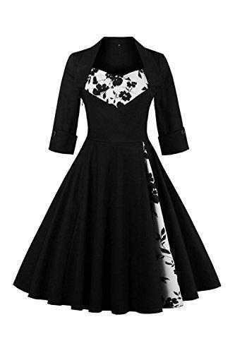 Babyonline Damen Wunderschön Rockabilly kleid 50s Cocktail Kleid Vintage Kleid 4XL