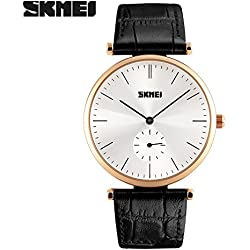 Good Quality leather strap watch quartz movement watch is 30 meters waterproof wristwatch zinc alloy environmentally friendly non-toxic vacuum plating Case(Black strap-Gold shell)