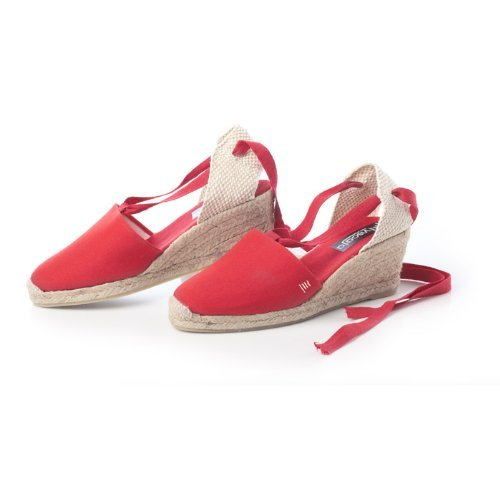 VISCATA Escala 2.5 Heel, Soft Ankle-Tie, Closed Toe, Classic Espadrilles Heel Made in Spain red
