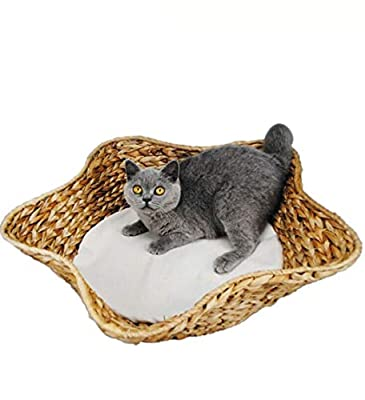 ZXPzZ Cat Nest Banana Leaf Five-pointed Star Rattan Cat Pad Banana Leaf Cat Bed Winter Warm Washable Cat Toy Mat Diameter 48CM by ZXPzZ