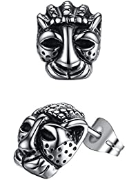 Aoiy Men's Stainless Steel King Lion Stud Earrings, aae005