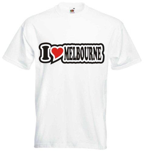 T-Shirt Herren - I Love Heart - I LOVE MELBOURNE Weiß