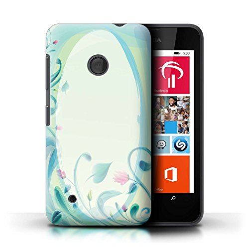 530 Nokia Blau Lumia Handy Case (Stuff4 Hülle / Case für Nokia Lumia 530 / Blume Leinwand/Jahrgang Muster / Teal Mode Kollektion)