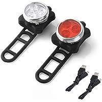 Fahrrad Licht LED Set, LED Frontlicht und Rücklicht Für Fahrrad USB LED Fahrradlicht, Kinderwagenbeleuchtung, Fahrradlampe Set inkl, LED Frontlichter und Rücklicht