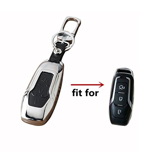 Happyit Zink-Legierung + Leder-Auto-Schlüsselabdeckungs-Fall für Ford intelligent / faltender Fokus Mondeo-Rand Fiesta Kuga Mondeo MK4 Fiesta-Fusion Eskort-Ecosport-Auto-Schlüssel (E Schwarz)