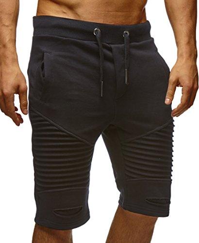 LEIF NELSON Herren kurze Hose Shorts Sweatshorts LN9025; Größe L, Schwarz (Sweat Herren Shorts)