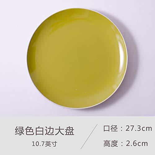 Piatto da bistecca creativo in ceramica piatto da portata western piatto domestico nordic disco tondo pasta piatto pizza verde lato bianco piatto grande da 10.7 pollici