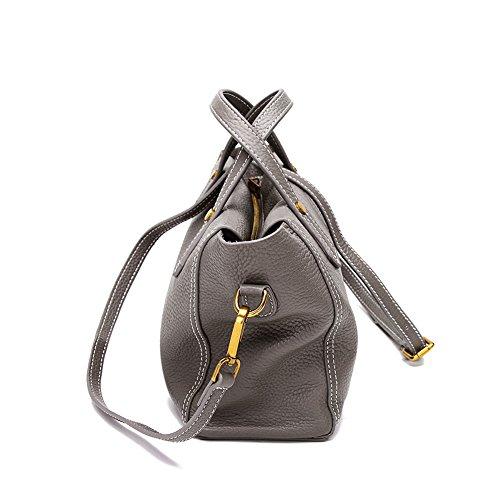 Mena Uk Borse grandi della borsa di cuoio molle di stile di modo delle donne e della signora Grigio