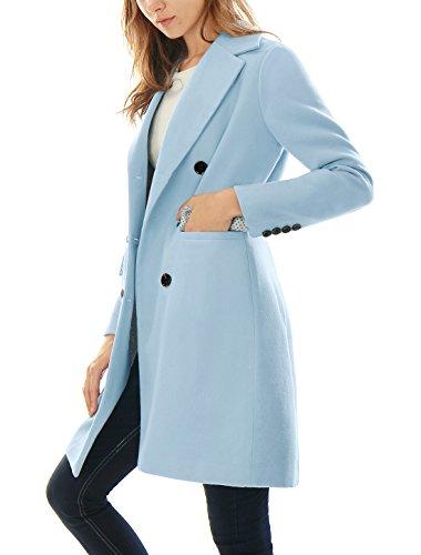 Allegra K Damen Gekerbtes Revers Zweireihig Wollmischung Langer Mantel Blau