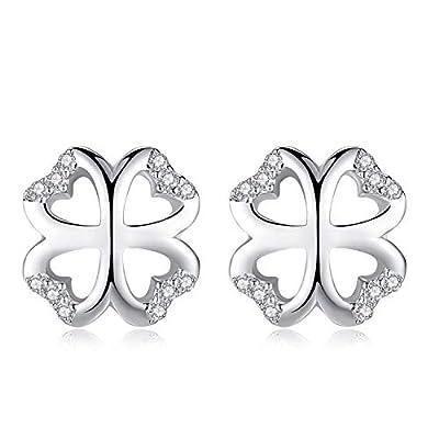 Earring Clover Heart Earrings Studs Flower Stud 925 Sterling Silver Earrings for Women Girls Jewellery fpr Women Gifts for women Gift Box