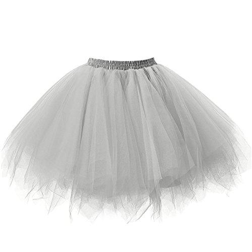 intage Petticoat Party Dance Tutu Rock Ballkleid Silber S/M (Tutu Rock)