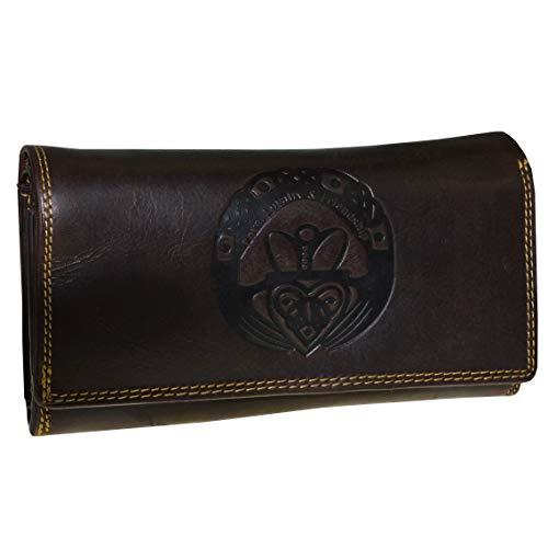 Große Damen Geldbörse Claddagh Prägung irisches Glückszeichen mit RFID NFC Schutz Portemonnaie (braun) -