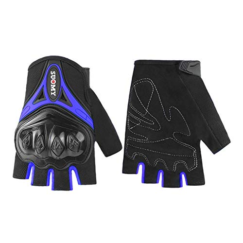 Bruce Dillon Motorcycle Gloves Men's Racing Motorcycle Motocross Riding Gloves Motorcycle Breathable Summer Full Finger Gloves -Blue X L