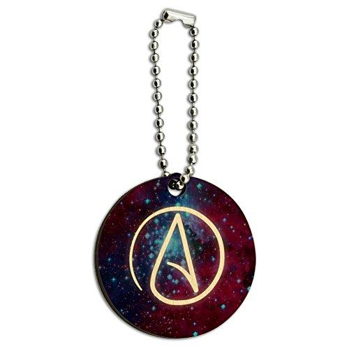 Atheist Atheismus Symbol in Space Holz rund Schlüsselanhänger Ring