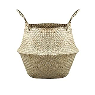Samber Home Storage Organisation, Hand-Woven Foldable Plant Flower Pot Natural Seagrass Woven Basket Toy Storage Basket Wovening Laundry Basket Foldable Handcraft Weave Belly Basket with Handle(A/M)
