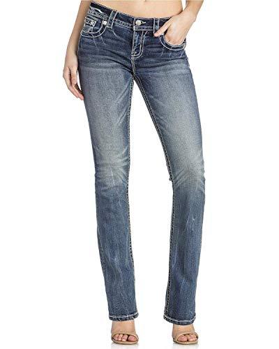 Miss Me - Frauen M3227B Metallic Wing Mid-Rise Boot Cut Jeans, 25, Denim Mid-rise Boot