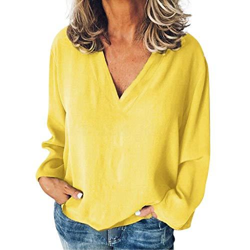 Ginli Donna Manica Lunga Camicetta in Tinta Unita Maglietta T-Shirt Maglia Blusa Sexy Indietro Collo V Pullover Maglie a Manica Lu