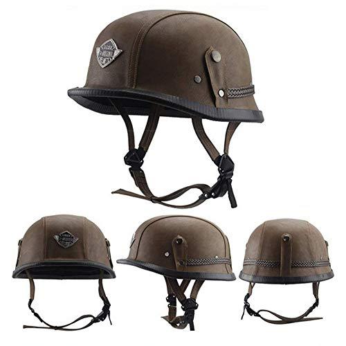Luckyin Scooter Touring Helm Moto Helme Motorradhalbhelm Micrometric Buckle Moped Chopper Helm DOT ECE Zertifiziert Unisex Universal Braincap,XL