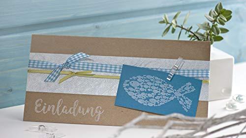 Rayher Hobby 29114000 Holzstempel Fisch, 4 x 9 cm, Motivstempel für Einladungen bei Hochzeit, Taufe, Kommunion, Konfirmation, Butterer Schrift-Stempel