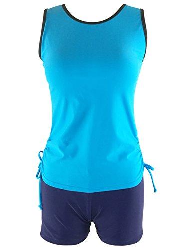 Azue Damen Sports Bikini 2 Teilig Tankini Bademode mit Shorts Bauchweg Badeanzug Sky Blau S (Schößchen-kleid Ausgeschnitten)