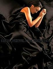 Idea Regalo - Satin - Completo per letto matrimoniale in raso, con fodera per piumone/duvet, federa e lenzuola in coordinato, 6 pezzi, colore: nero
