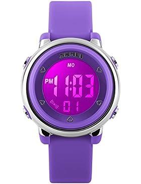 [Gesponsert]Jungen Mädchen Digitaluhr 7 LED Licht Uhr Sport Wasserfest Armbanduhr,Alarm Chrono Stoppuhr (Lila)