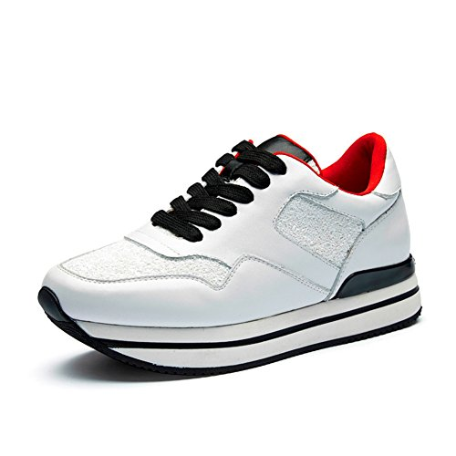 Chaussure de sport plate-forme basket compensé moderne basket mode femme Blanc