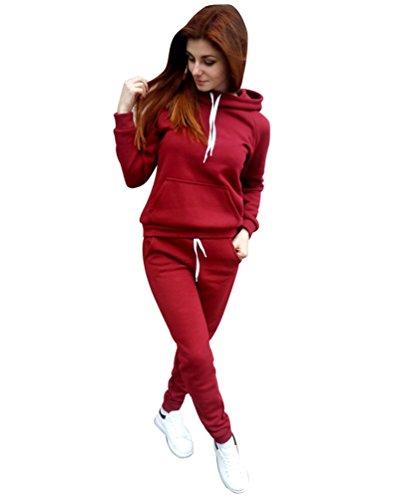 YiLianDa Donna Tuta Sport Manica Lunga Felpa con Cappuccio Pantaloni 2 Pezzi Rosso