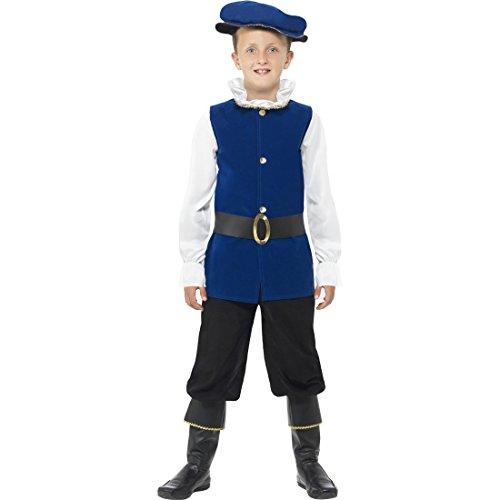 Edelmann Kostüm Kinder Mittelalterkostüm S - 115-128 cm 4-6 Jahre Historische Verkleidung Tudor Junge Faschingskostüm Mittelalter Kinderkostüm (Historische Kinder Kostüme)
