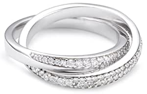 Esprit - ESRG91579A170 - Love Tangent Double - Bague Femme - Argent 925/1000 8.9 gr - Cristal - Oxyde de zirconium - Blanc - T 53