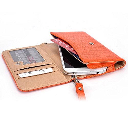 Kroo Croco Étui portefeuille universel pour smartphone avec bracelet pour Prestigio MultiPhone 4505Duo/4500Duo/5450Duo Mobile noir - noir Orange - orange
