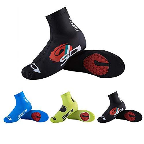 Womdee copriscarpe impermeabili da ciclismo, bici copriscarpe, 1 paio riutilizzabile pioggia scarpe cover antiscivolo con cerniera per arrampicata ciclismo, black, 4xl