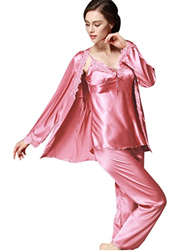 Menschwear Damen Ruhige Träume Pyjama Komfort Fit Top und Hose 3pcs Rot 2