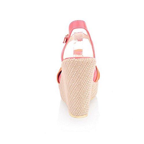 Odomolor Damen Weiches Material Schnalle Fischkopf Schuhe Hoher Absatz Gemischte Farbe Plateau-Sandalen Rot