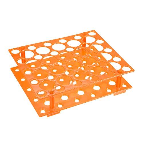 sourcing map Reagenzglasgestell Polypropylen 50 Löcher für 0,5ml 1,5ml 10ml 15ml 50ml Orange