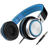 Headphones, Honstek Faltbarer und Leichter on-Ear Kopfhörer, Stereo Kabelgebundenes Komfortables Headset für iPhone iPad Android Handys Computer Tablets MP3/MP4 (Schwarz/Blau)