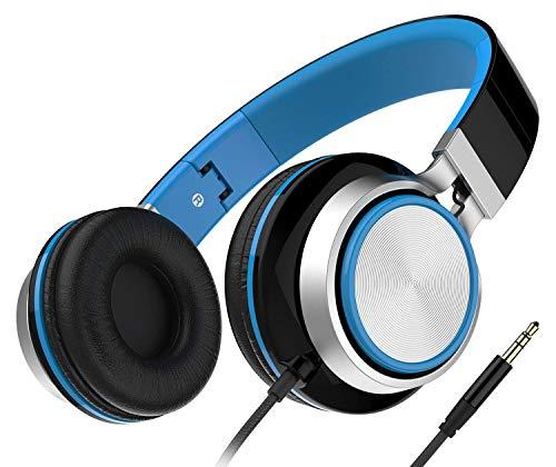 Auriculares, Audífonos Honstek Ligeros y Plegables, Auriculares Cómodos con Cable Estéreo para iPhone iPad Android Teléfonos celulares Computadoras Tabletas MP3/MP4 (Negro/Azul)
