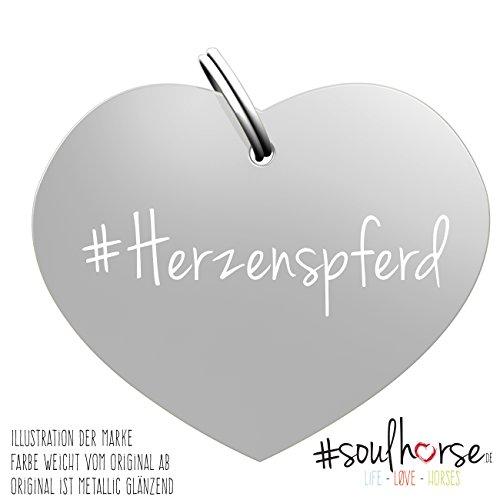 Pferde Glücksmarke 'Herzenspferd' Herz silber von Soulhorse fürs Halfter, Trense und Zaumzeug