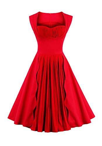 Frauen rot ärmellos Square-Neck gedrückt Pleat Retro Party Swing Kleid (4XL) (Floral Square-neck)