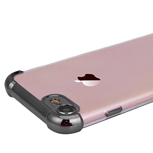 Yokata iPhone 7 Plus Hülle Transparent Vollschutz Handyhülle Ultra Dünn Slim Leicht Etui Anti-Kratzer Case Weich Silikon Gel Clear Durchsichtig TPU Schutzhülle [Backcover] und Weiche Plastik Hard PC S Grau