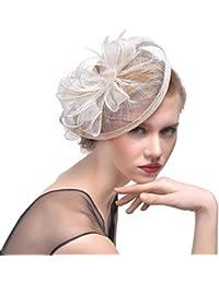 Hulday Sombreros Sombreros De Las Neto Mujeres Elegante Flor De Malla  Estilo Simple Velo Pluma Clip De Pelo Cóctel… e135d86c067
