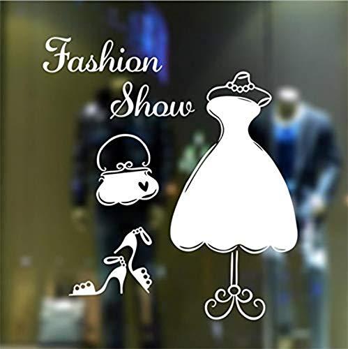 Wand-Aufkleber Kreative Kleid Tuch High Heels Hut Form Schaufenster Fensterglas Kunstwand Modeschau Vinyl Hand Geschnitzte Wanddekor