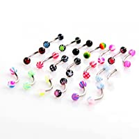 Anself 20pcs Colorful Stainless Steel Ball Barbell Curved Eyebrow Rings Bars Tragus Piercing