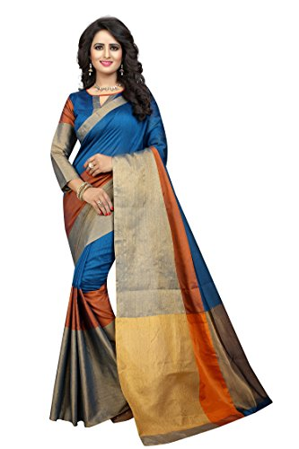 Perfectblue Women's cotton Silk Saree With Blouse Piece (skyblue)