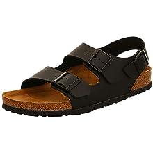 Birkenstock Milano Smooth Leather, Unisex Adults' Sandals, Black, 7 UK Slim (40 EU)